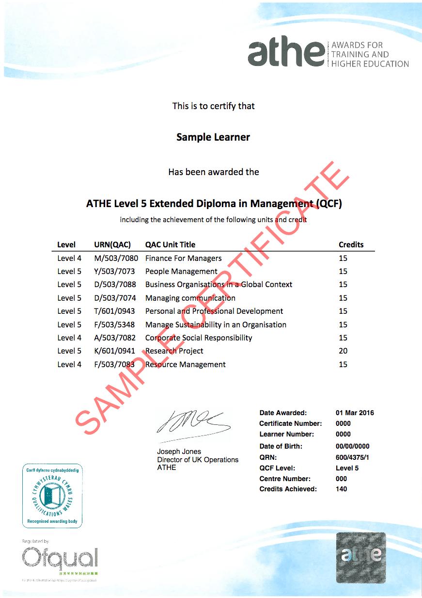 Level 5 Sample Certificate